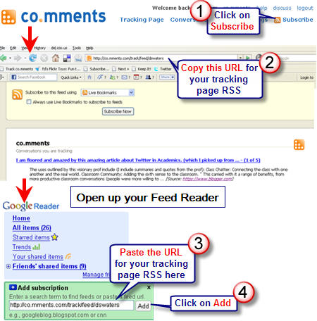 Subscribing to RSS from comment