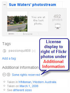 Image of how to locatie the Flickr license