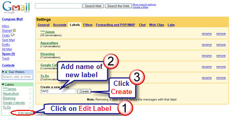 Creating labels for emails